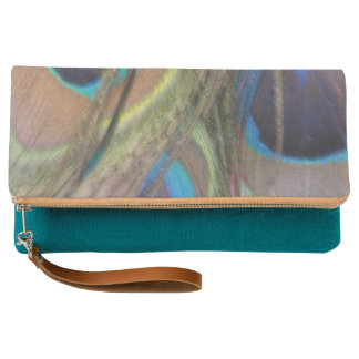 Bright Peacock Feathers Fold Over Clutch