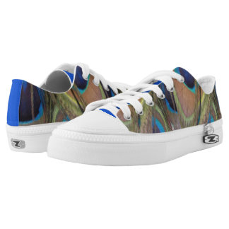 Bright Peacock Feathers Zipz Low Shoes
