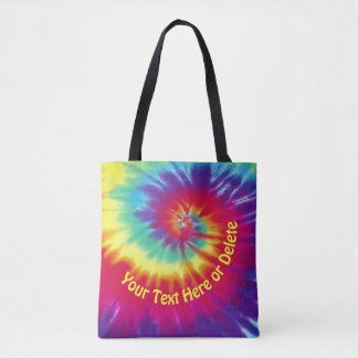 Bright Personalized Tie Dye Tote Bag, Your Text