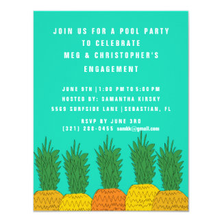 Bright Pineapple Couple Engagement Pool Party Card