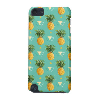 Bright Pineapples On Geometric Pattern iPod Touch (5th Generation) Covers