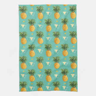 Bright Pineapples On Geometric Pattern Kitchen Towel