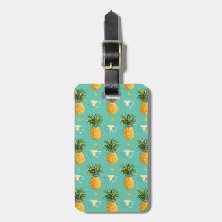 Bright Pineapples On Geometric Pattern Luggage Tag