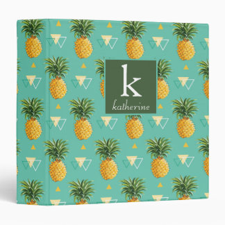 Bright Pineapples On Geometric Pattern | Monogram Binders