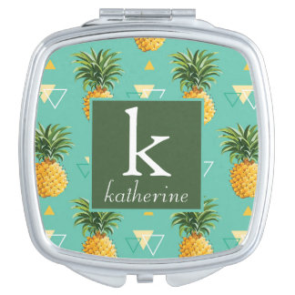 Bright Pineapples On Geometric Pattern | Monogram Mirror For Makeup