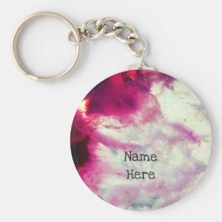 Bright Pink Agate Crystal Keychain