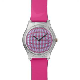 "Bright Pink and Aqua ""X"" Pattern Globe Design Wrist Watches"