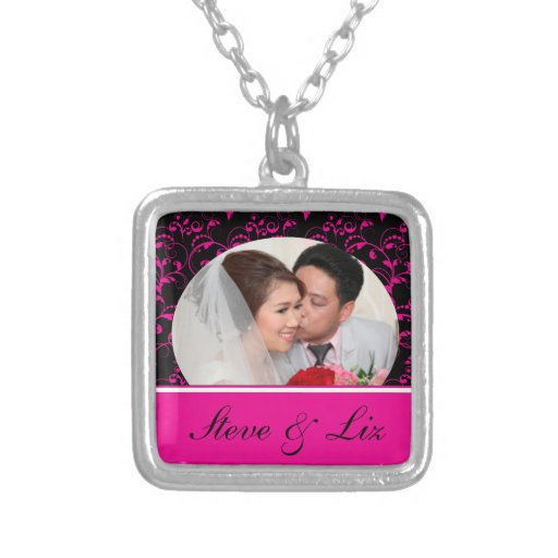 Bright Pink and Black Bride & Groom Necklaces
