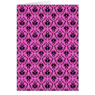 Bright Pink and Black Damask pattern. Card