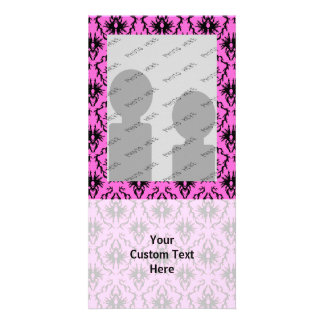 Bright Pink and Black Damask pattern Photo Card