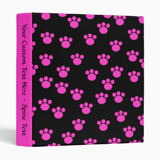 Bright Pink and Black Paw Print Pattern. Binders