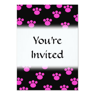 Bright Pink and Black Paw Print Pattern. Announcement