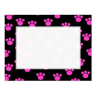 Bright Pink and Black Paw Print Pattern. Postcard