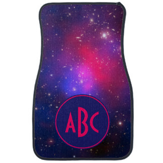 Bright Pink and Blue Galaxy Cluster Monogram Car Carpet