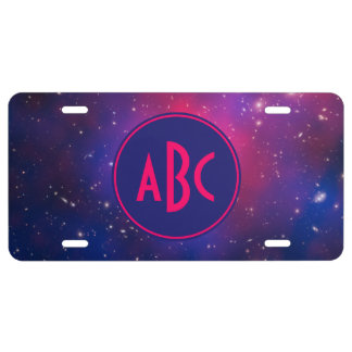 Bright Pink and Blue Galaxy Cluster Monogram License Plate