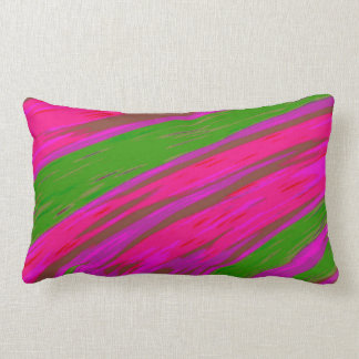 Bright Pink and Green Color Swish abstract Lumbar Pillow