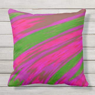Bright Pink and Green Colour Abstract Design Throw Pillow