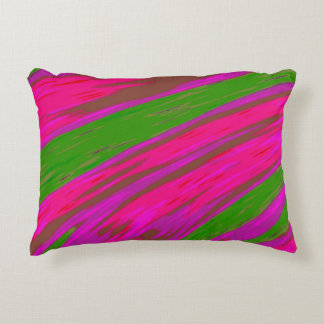 Bright Pink and Green Colour Swish Abstract Accent Pillow