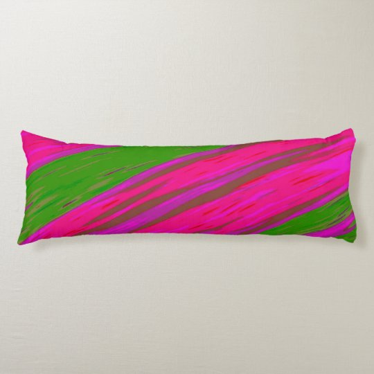 Bright Pink and Green Colour Swish Abstract Body Pillow