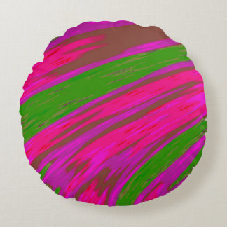 Bright Pink and Green Colour Swish Abstract Round Pillow