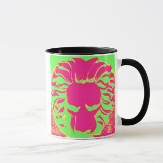 Bright pink and lime green lion drinking mug