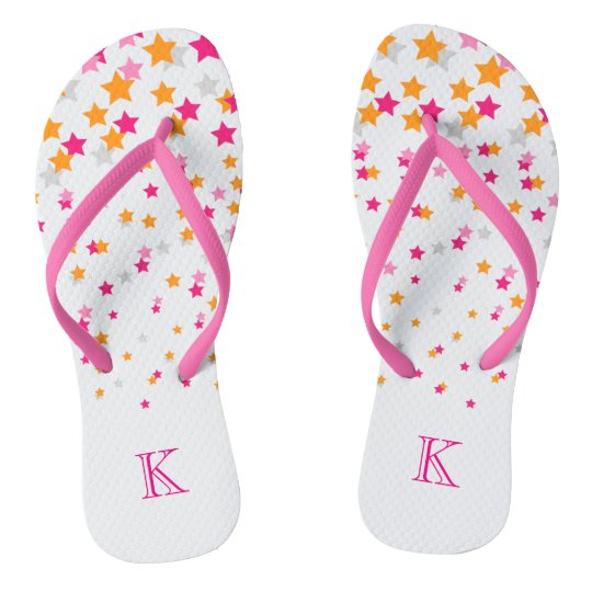 Bright Pink and Orange Confetti Stars Monogram Flip Flops