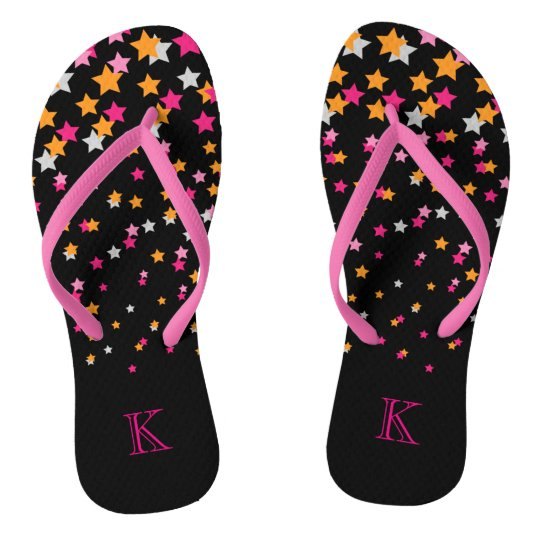 Bright Pink and Orange Confetti Stars on Black Flip Flops