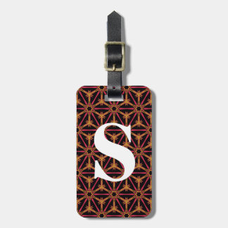 Bright Pink and Orange Kaleidoscope with Initial Luggage Tag