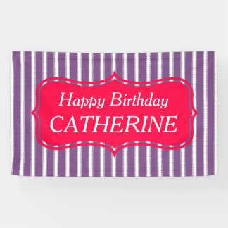 Bright Pink and Purple Personalized Birthday Banner