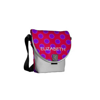 Bright Pink and Purple Polka Dot Personalized Messenger Bags