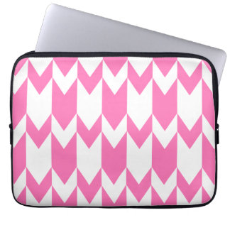 Bright Pink and White Chevron Pattern. Laptop Sleeve