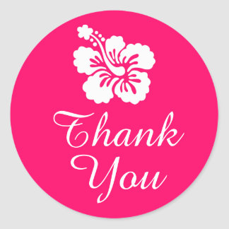 Bright Pink and White Hibiscus Thank You Round Sticker