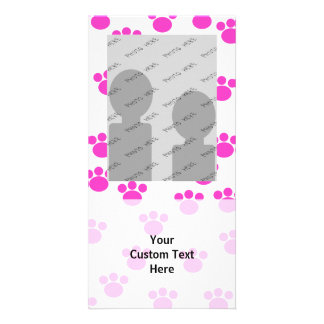 Bright Pink and White Paw Print Pattern. Photo Card Template