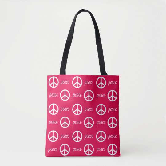 Bright Pink and White Peace Symbol and Text Tote Bag