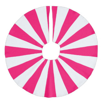 Bright Pink and White Starburst Stripes Faux Linen Tree Skirt