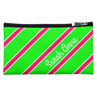 Bright Pink and White Stripes on Lime Personalized Makeup Bag