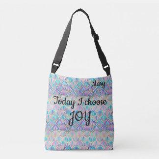 Bright Pink Aqua Art Deco Mermaid Today I Choose Crossbody Bag