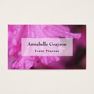 Bright Pink Azalea Photo with Water Droplets Business Card