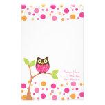 Bright Pink Baby Owl Custom Stationery
