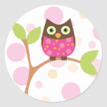 Bright Pink Baby Owl Sticker