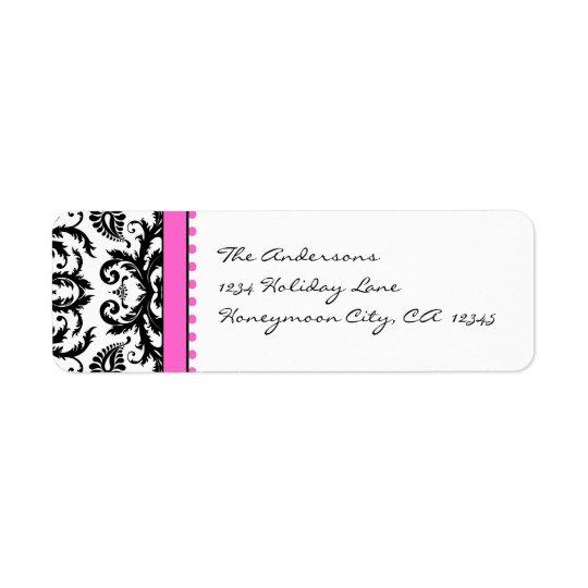 Bright Pink & Black Damask Dots Address Labels