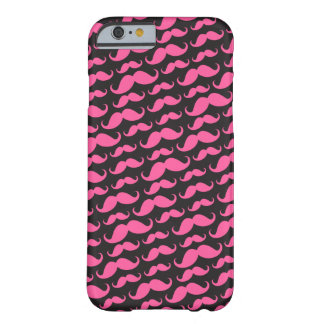 Bright pink black trendy funny mustache pattern barely there iPhone 6 case