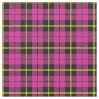 Bright pink black yellow stripe plaid print2 fabric