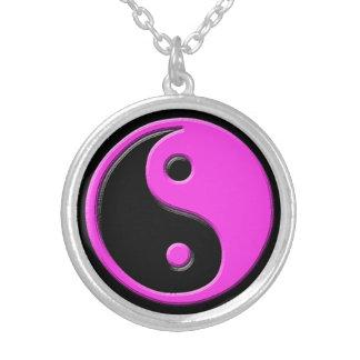 Bright Pink Black Yin Yang Round Pendant Necklace