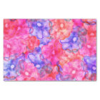 Bright pink blue hand painted floral watercolor tissue paper