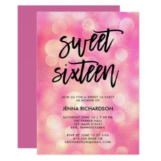 Bright Pink Bokeh and Typography | Sweet Sixteen Card