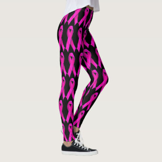 Bright Pink Bows 4 Breast Cancer Awareness Support Leggings