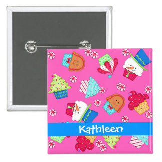 Bright Pink Chistmas Cupcake Art Name Badge Pin