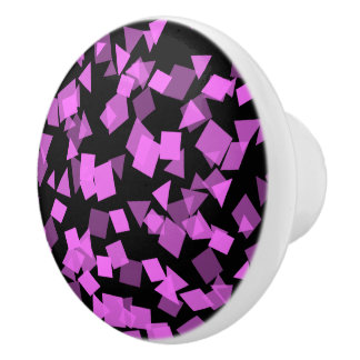 Bright Pink Confetti on Black Ceramic Knob