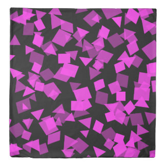 Bright Pink Confetti on Black Duvet Cover
